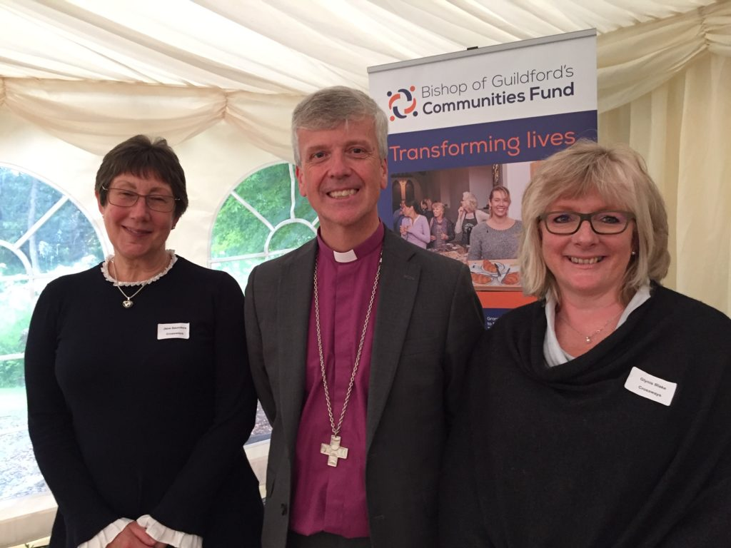 Glynis (one of our counsellors) and Jane Saunders, with Bishop Andrew.
